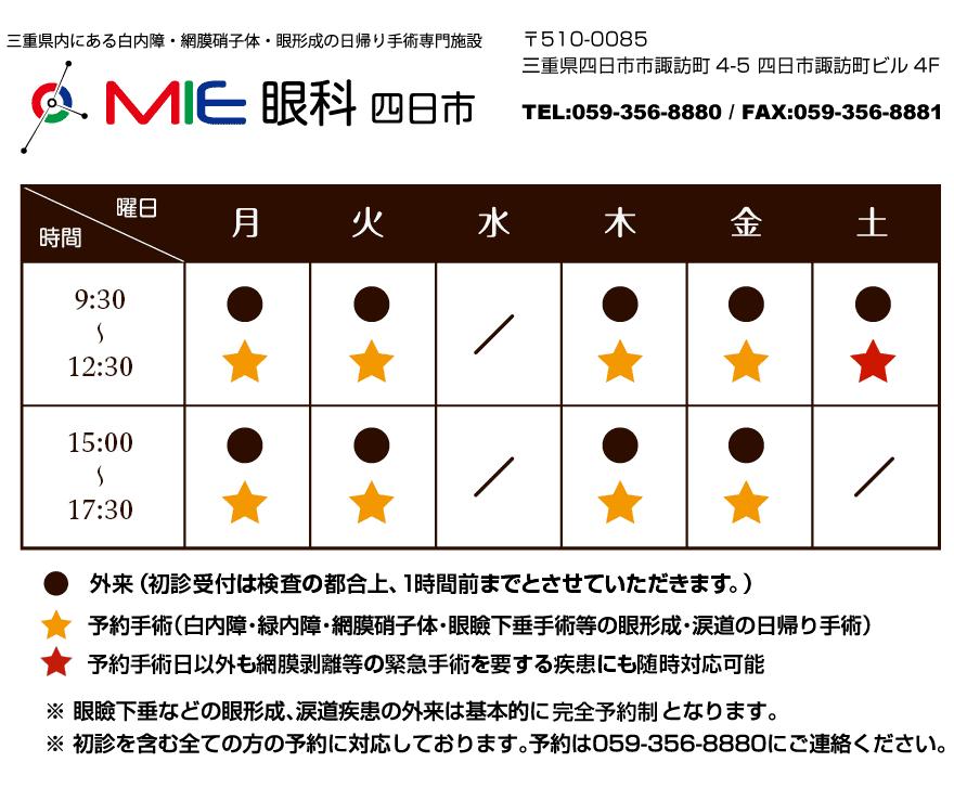 MIE眼科四日市 タイムテーブル